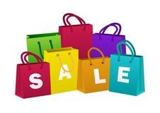 Jogo de sacos de compra coloridos Tema da venda Ilustração do vetor Imagem de Stock Royalty Free