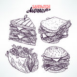 Jogo de sanduíches deliciosos ilustração royalty free