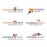 Jogo de seis logotipos do pintor e do decorador Imagens de Stock Royalty Free