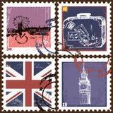 Jogo de selos de porte postal Fotografia de Stock