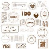 Jogo de selos de porte postal do casamento Fotografia de Stock