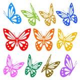 Jogo de silhuetas coloridas das borboletas Fotos de Stock