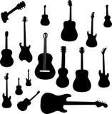 Jogo de silhuetas da guitarra Fotos de Stock Royalty Free