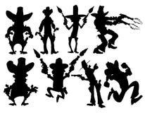 Jogo de silhuetas do cowboy ilustração stock