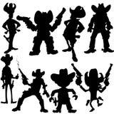 Jogo de silhuetas do cowboy ilustração royalty free