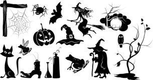 Jogo de silhuetas isoladas de Halloween do vetor fotografia de stock royalty free