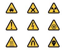 Jogo de sinais de perigo de advertência triangulares Imagem de Stock