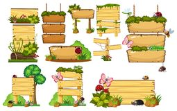 Jogo de sinais de madeira ilustração do vetor