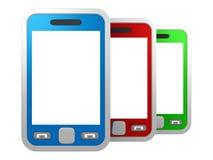 Jogo de smartphones coloridos do écran sensível no branco Imagem de Stock Royalty Free