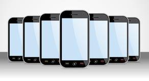 Jogo de Smartphones genérico para moldes do app Fotografia de Stock Royalty Free