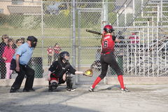 Jogo de softball das mulheres canadenses Fotografia de Stock