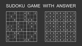 Jogo de Sudoku com resposta ilustração royalty free