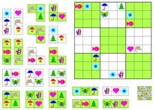 Jogo de Sudoku da lógica - precise de terminar o enigma usando os detalhes restantes ilustração do vetor