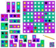 Jogo de Sudoku da lógica - precise de terminar o enigma usando os detalhes restantes e pintar protagoniza em cores correspondente ilustração stock