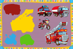 Jogo de suposição dos desenhos animados para crianças com os veículos coloridos do bombeiro que conectam pares ilustração royalty free