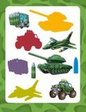 Jogo de suposição dos desenhos animados para crianças com os veículos militares coloridos e elementos que juntam-se a pares ilustração do vetor