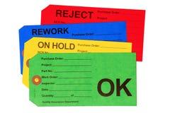 Jogo de Tag do controle da qualidade Imagem de Stock Royalty Free