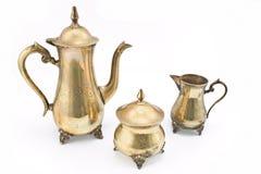 Jogo de teapots de prata antigos Imagem de Stock Royalty Free