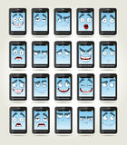 Jogo de telefones dos sorrisos com emoções diferentes Imagens de Stock Royalty Free