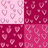 Jogo de testes padrões bonitos dos corações Fotografia de Stock Royalty Free