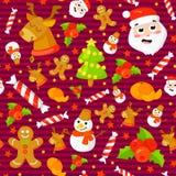 Jogo de testes padrões sem emenda do Natal Fundos com símbolos feriado e elementos da celebração de família dos ícones Inverno Imagem de Stock Royalty Free