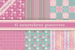 Jogo de texturas sem emenda Cherry Blossoms Textu sem emenda da mola Fotos de Stock