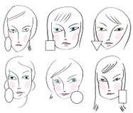Jogo de tipos das faces da mulher Fotografia de Stock
