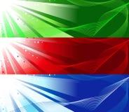 Jogo de três bandeiras coloridas Fotografia de Stock Royalty Free