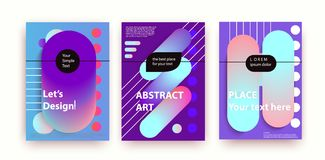 Jogo de três bandeiras Composições abstratas das faixas arredondadas, futurista e moderno Fotografia de Stock