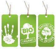 Jogo de três Tag verdes para orgânico ilustração stock