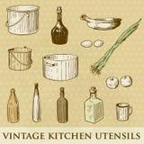 Jogo de utensílios da cozinha do vintage Imagens de Stock Royalty Free