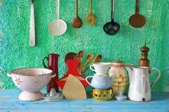 Jogo de utensílios da cozinha do vintage Imagens de Stock