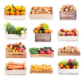 Jogo de várias frutas e verdura Imagem de Stock Royalty Free