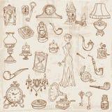 Jogo de vários elementos do Doodle do vintage Imagens de Stock