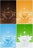 Jogo de vários líquidos da bebida do respingo Imagem de Stock