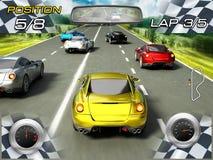 Jogo de vídeo das corridas de carros Foto de Stock