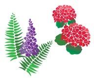 Jogo de vetores da flor e do fern ilustração royalty free