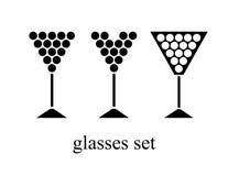 Jogo de vidros de vinho Vetor ilustração royalty free