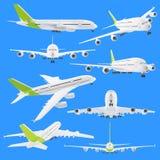 Jogo de vistas diferentes do avião ilustração royalty free