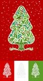 Jogo decorativo da árvore de Natal ilustração do vetor