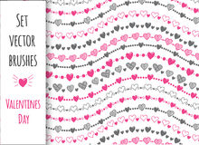 Jogo decorativo 10 escovas do vetor O dia de Valentim, coração Foto de Stock Royalty Free