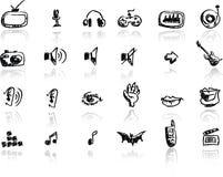 Jogo desenhado mão do ícone dos media Fotografia de Stock Royalty Free