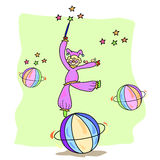 Jogo desenhado mão do palhaço com bola Fotografia de Stock