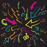 Jogo desenhado mão da seta Imagens de Stock Royalty Free
