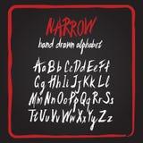 Jogo desenhado mão do alfabeto Letras ásperas pintadas escova Fotografia de Stock