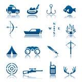 Jogo do ícone da caça e da pesca Imagem de Stock Royalty Free