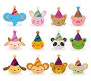 Jogo do ícone da cabeça do animal de partido dos desenhos animados Foto de Stock