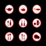 Jogo do ícone da cozinha ilustração stock