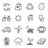 Jogo do ícone da ecologia ilustração stock