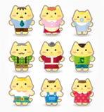 Jogo do ícone da família de gato dos desenhos animados Fotografia de Stock Royalty Free